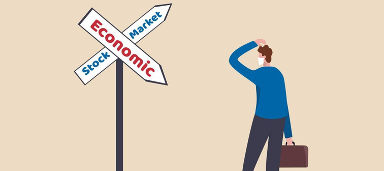 "Illustration of man wearing face mask standing at a crossing sign of ""Economic"" and ""Stock Market"""