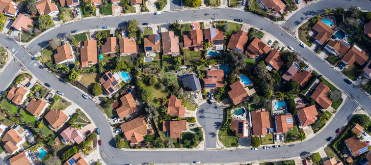 Houses in the San Diego suburbs as seen from the air