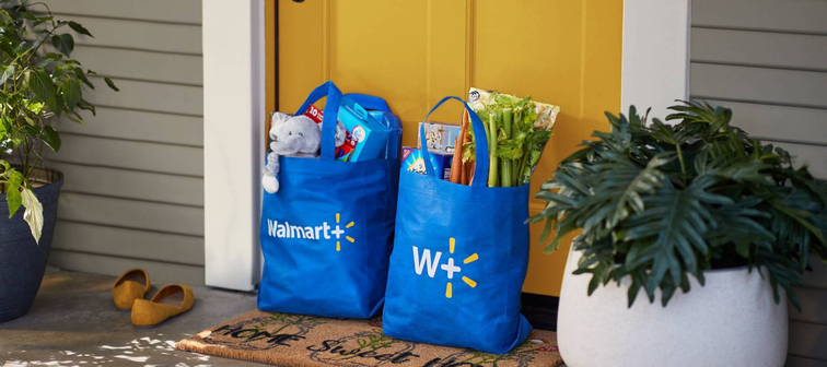 Two Walmart+ reusable shopping bags outside the front door of an attractive home