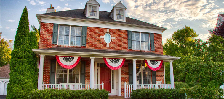 Colonial house in Medford, New Jersey, with patriotic bunting