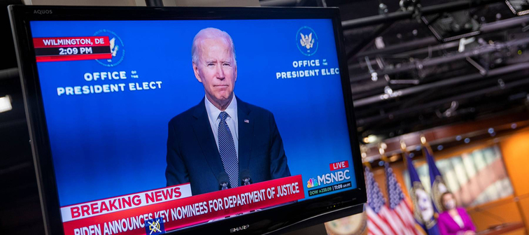 President-elect Joe Biden on a television set