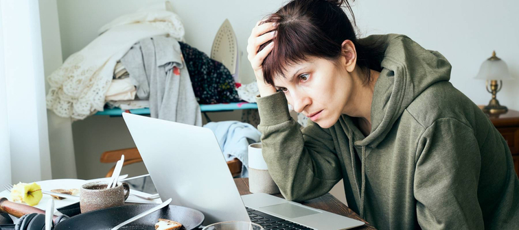 Woman struggling to finish her taxes