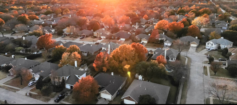 Arial shot of neighborhood in the fall