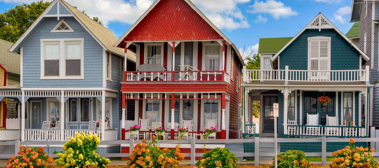 Colorful houses on Marthas Vineyard