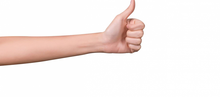 thumbs up. hand. isolated on white