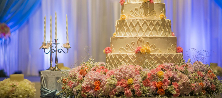 White wedding cake with flower