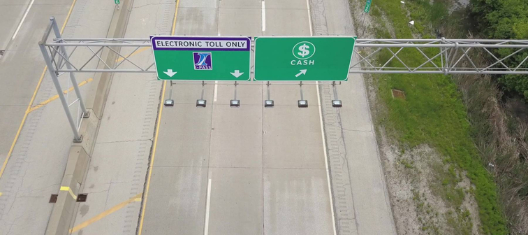 A great way to drive cars and pay a toll on a toll road in the U.S. Height view