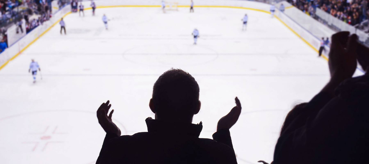 Hockey fan standing and applause on the stadium in after goal - sport, wallpaper..