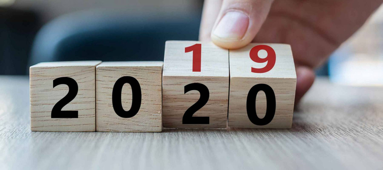Calendar turning from 2019 to 2020