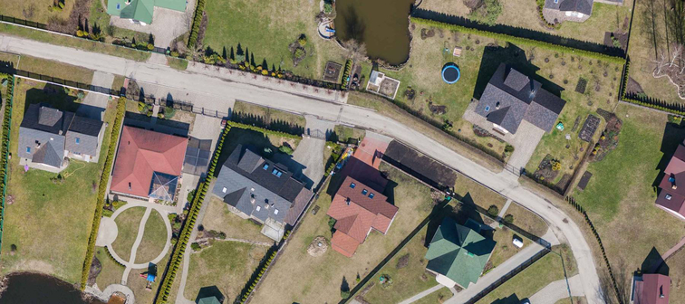 aerial view over the private houses
