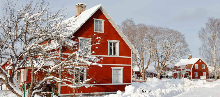 Swedish red two storeywooden  family houses behind a snow covered tree alongside the snow surfaced road in the residential area during the winter season.