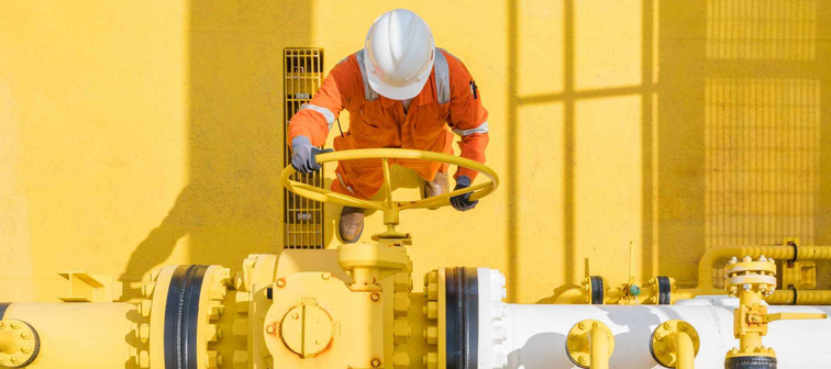 Offshore oil and gas site service operator open valve for control gases and crude product