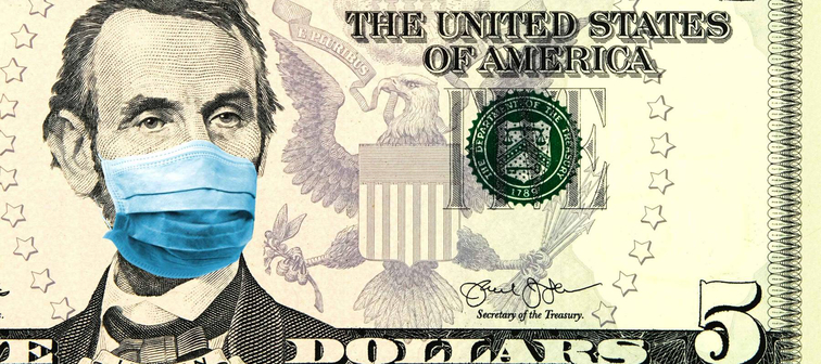 Coronavirus in United States. Concept for quarantine and recession.  5 dollar banknote with a face mask.
