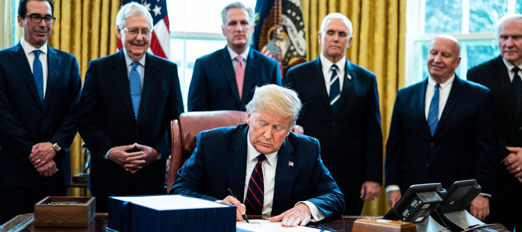U.S. President Trump participates in a signing ceremony for a two trillion dollar coronavirus relief bill, Washington, USA - 27 Mar 2020